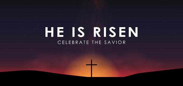 基督徒復活節場面 救星十字架在戲劇性日出場面 與文本他上升了 媒介例證向量圖形及更多Rise Up Christchurch圖片