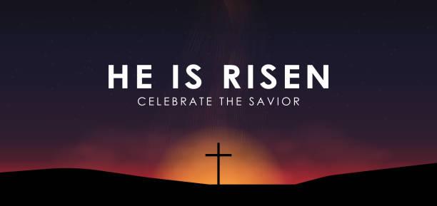 基督徒復活節場面, 救星十字架在戲劇性日出場面, 與文本他上升了, 媒介例證 - 宗教 幅插畫檔、美工圖案、卡通及圖標