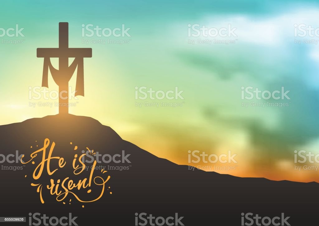 Christian easter scene, Saviour's cross on dramatic sunrise scene, with text He is risen, illustration vector art illustration