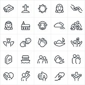 A set of Christian or religious icons. The icons include a bible, cross, Jesus Christ, rescue, church, lamb, heaven, helping hand, angel, Savior, prayer, worship, arm around shoulder, olive, praise, crucifixion and other related themes.