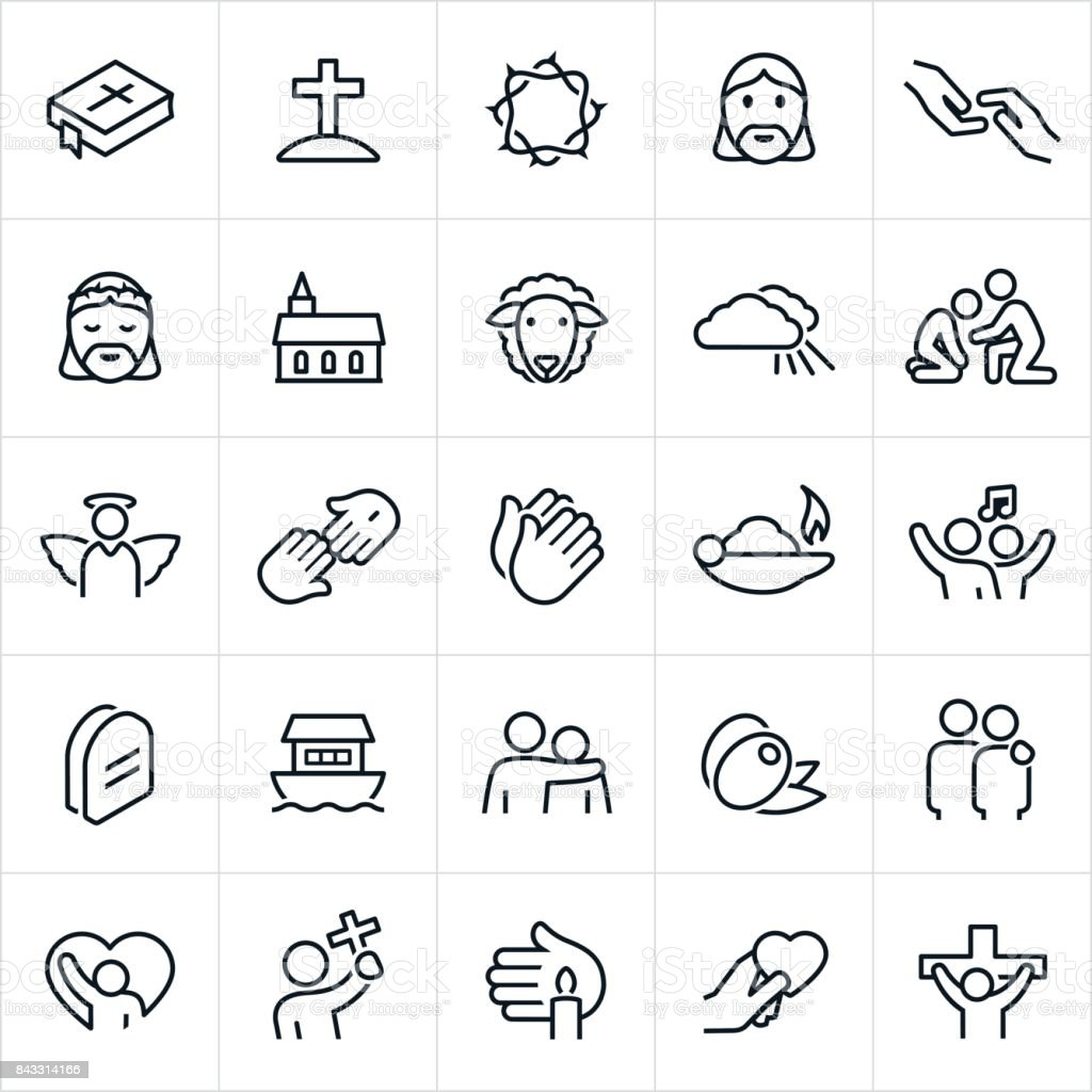 Christian Faith Icons vector art illustration