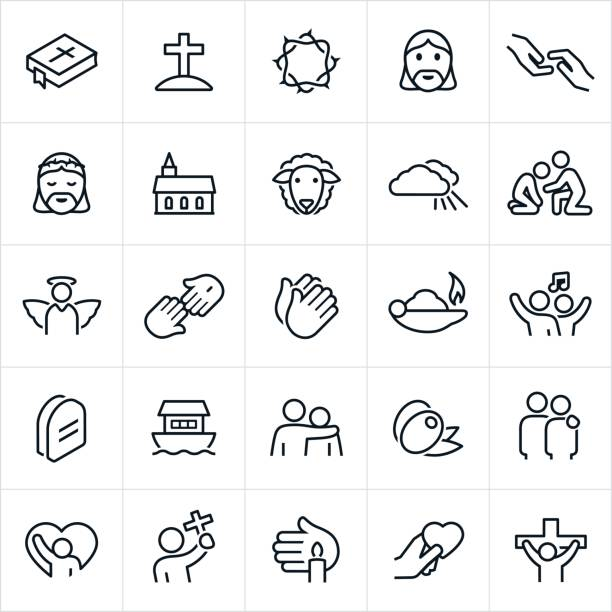 Christian Faith Icons A set of Christian or religious icons. The icons include a bible, cross, Jesus Christ, rescue, church, lamb, heaven, helping hand, angel, Savior, prayer, worship, arm around shoulder, olive, praise, crucifixion and other related themes. religious symbol stock illustrations