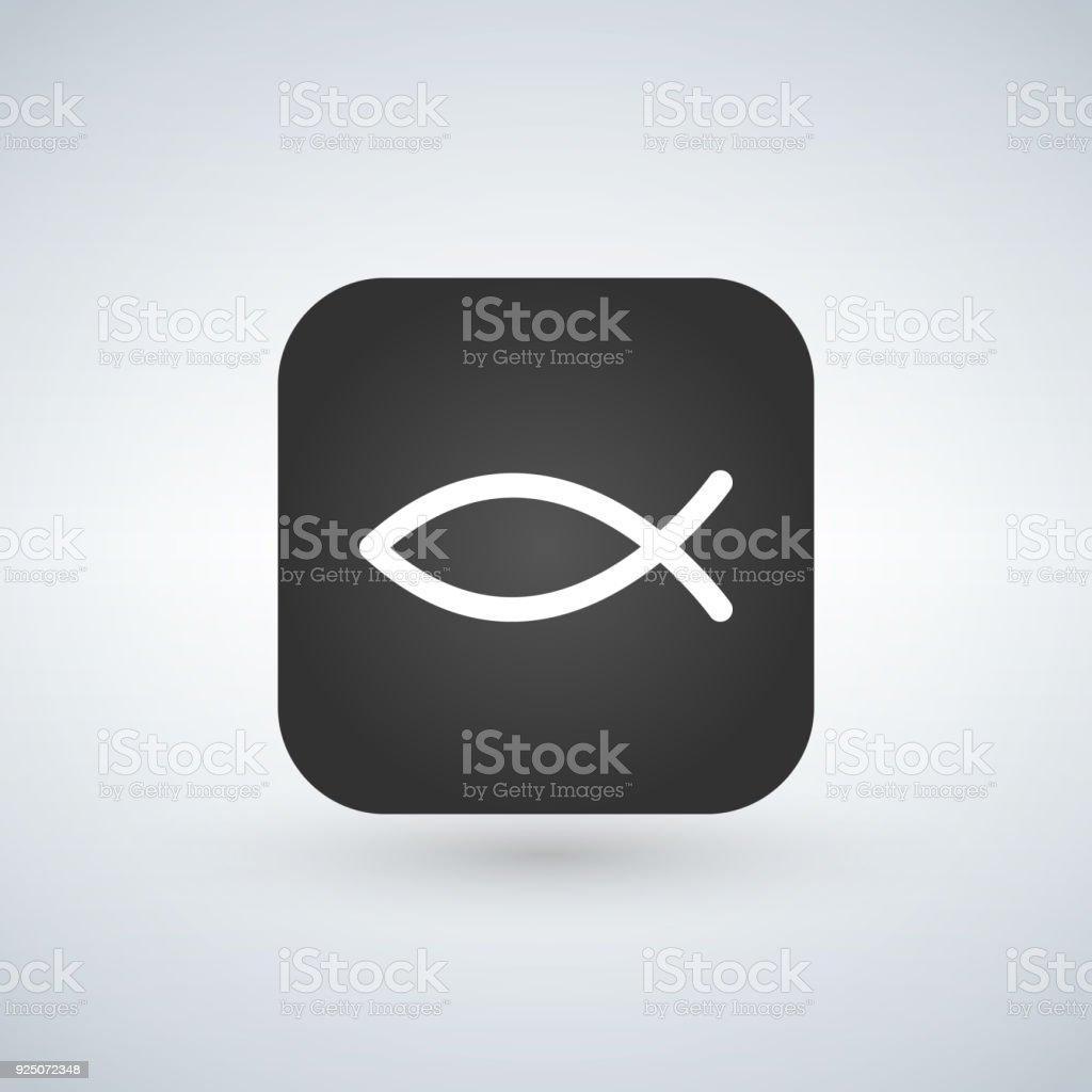 Christian Fish Symbol On App Button Vector Illustration Stock Vector