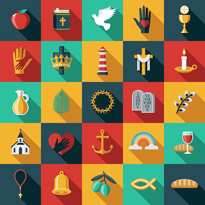 Christian Flat Design Icon Set