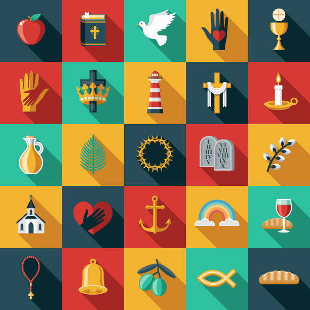 Christian Flat Design Icon Set A flat design/thin line icon on a colored background. Color swatches are global so it's easy to edit and change the colors. File is built in CMYK for optimal printing and the background is on a separate layer. religious symbol stock illustrations