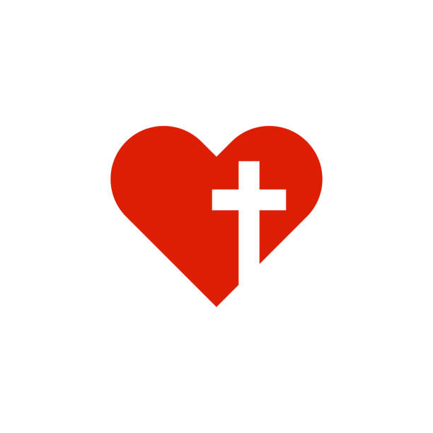 christian heart with cross in flat style christian heart with cross in flat style, vector god stock illustrations