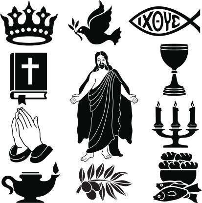 Christian icon set in black silhouette