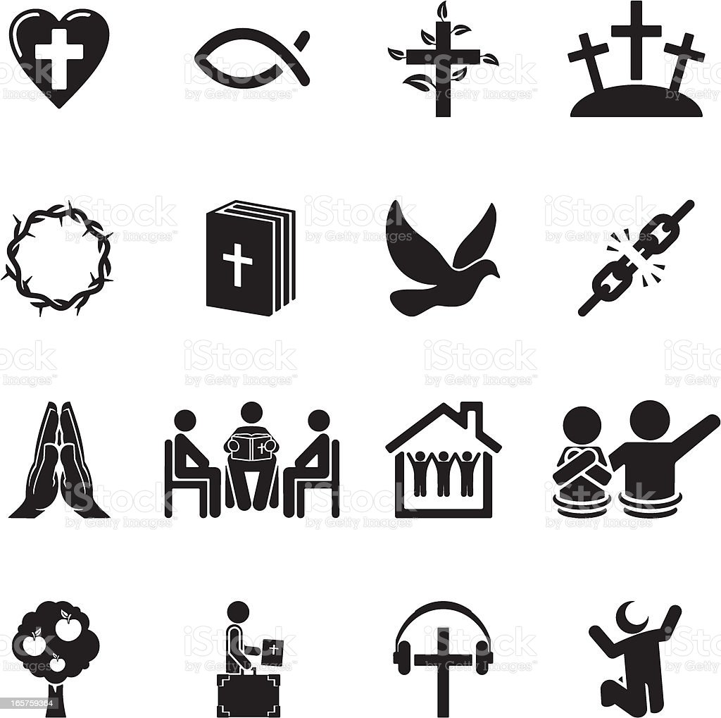 Christian Icon Set vector art illustration