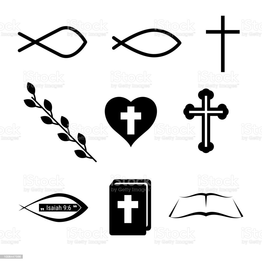 Christian Icons Or Symbols Fish Cross Heart Wine And Holy Bible