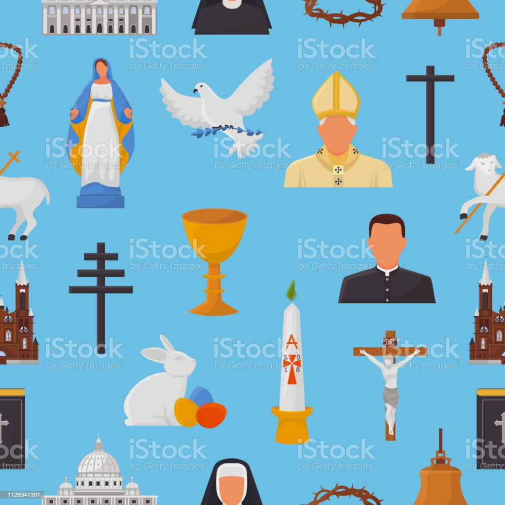 Christian icons vector christianity religion signs and religious...