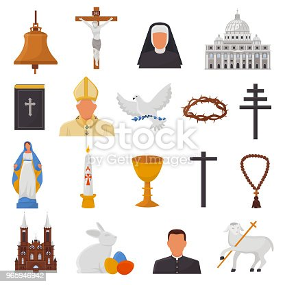 Christian icons vector christianity religion signs and religious symbols church faith christ bible cross hands praying to God biblical illustration isolated on white background.