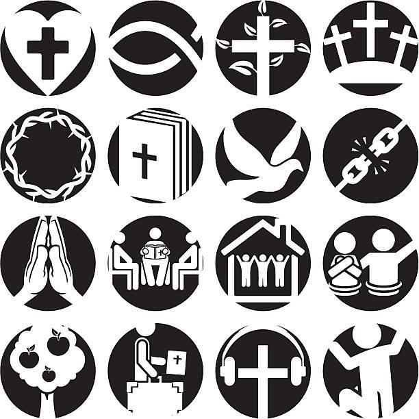 christian symbole - kreuzkette stock-grafiken, -clipart, -cartoons und -symbole