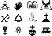A set of Christianity icons and symbols, including dove, Chi Ro, praying hands, bible, trinity christogram, cross, communion goblet, ark and more. Vector file is eps 10