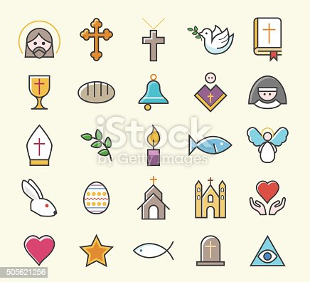 Set of 25 Minimal Solid Thin Line Colored Christian Icons. Isolated Vector Elements.