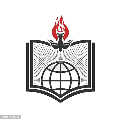 istock Christian illustration. Church icon. God's Word and Holy Spirit sent down to the world. 1331583702