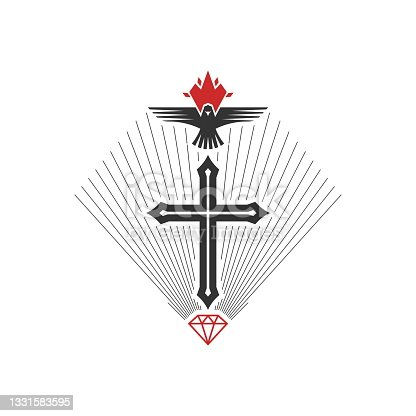 istock Christian illustration. Church icon. The cross is a symbol of crucifixion and salvation, a dove is a symbol of the Holy Spirit. 1331583595