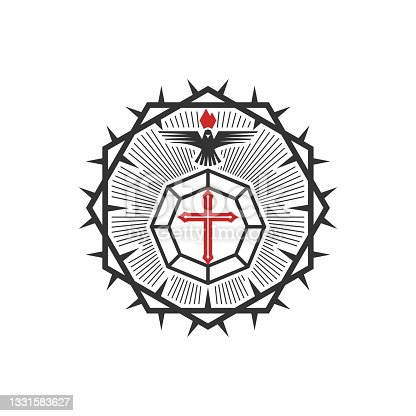 istock Christian illustration. Church icon. The cross is the diamond of God's love for man, the Dove is the power of the Holy Spirit and the crown of thorns. 1331583627