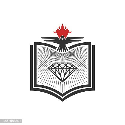 istock Christian illustration. Church icon. The diamond of God's Word and the dove are symbols of the Holy Spirit. 1331583691