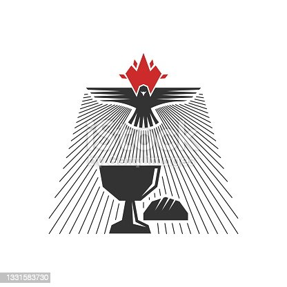 istock Christian illustration. Church icon. The holy bowl and bread, over which the dove hovers, is a symbol of the Holy Spirit. 1331583730