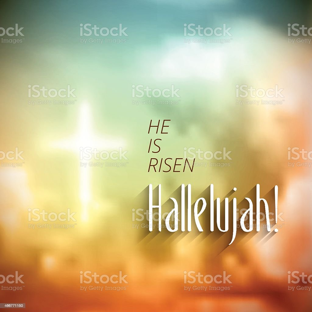 A Christian lettering design on a defocused background vector art illustration