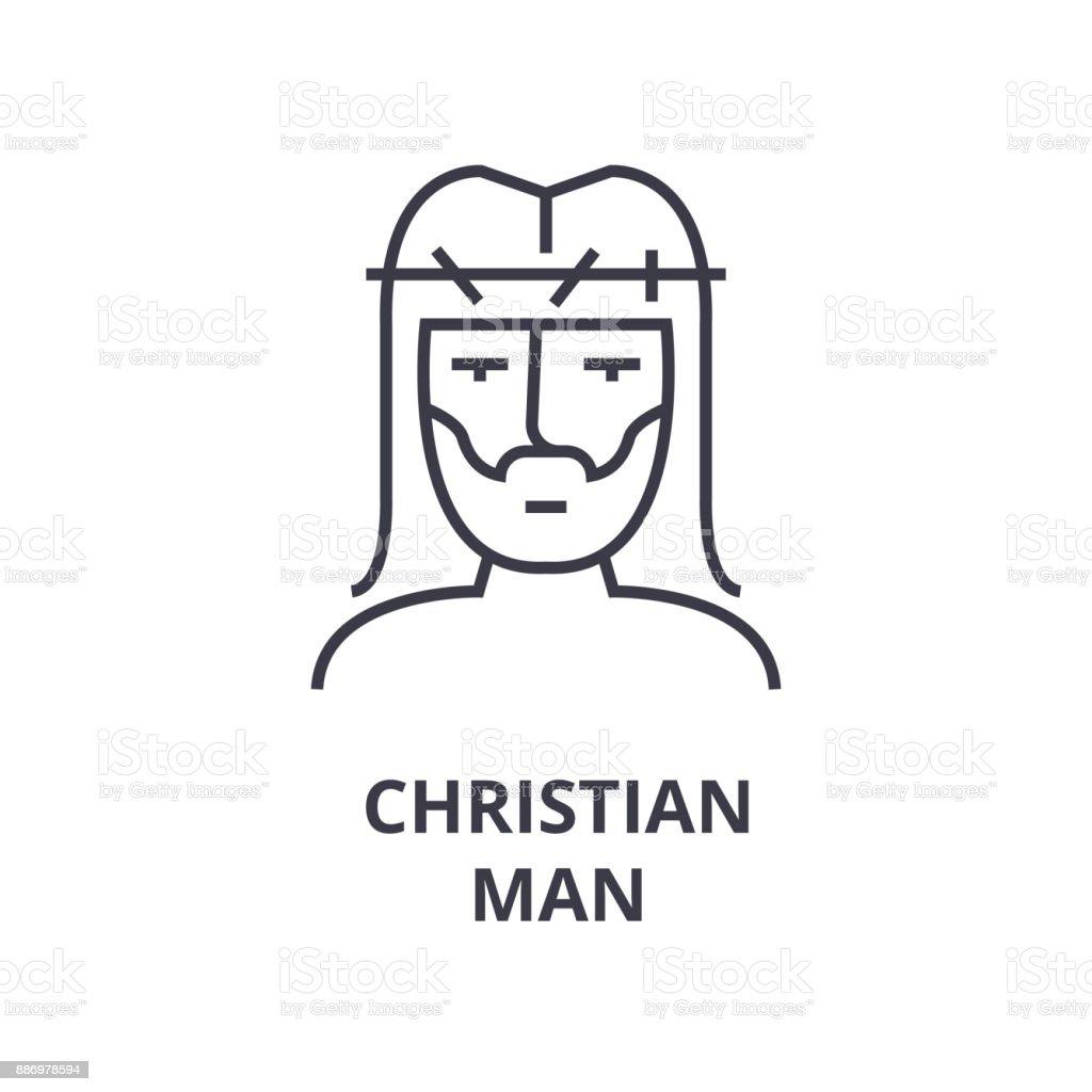 christian man line icon, outline sign, linear symbol, vector, flat illustration vector art illustration
