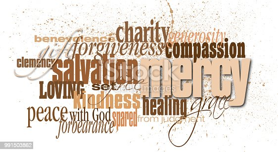 Graphic typographic design composed of words and phrases associated with the Biblical, Christian term or concept of mercy