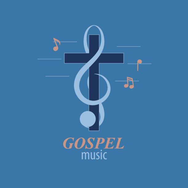 Christian music logo Musical logo, which symbolizes Evangelical music. For music studios that reach out to Christian music. gospel choir stock illustrations