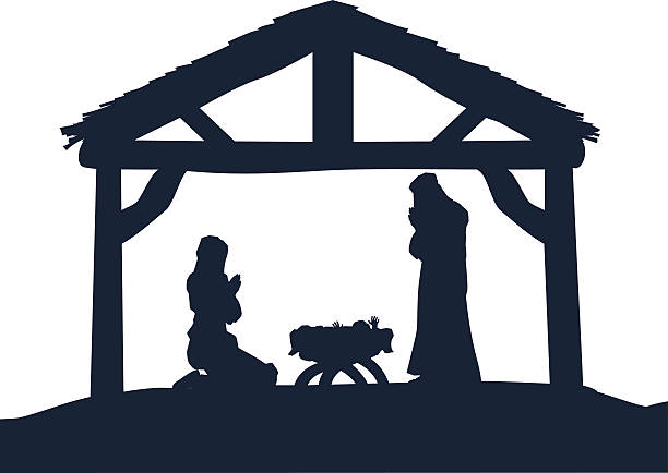 Christian Nativity Christmas Scene Silhouettes Traditional Christian Christmas Nativity Scene of baby Jesus in the manger with Mary and Joseph in silhouette nativity silhouette stock illustrations