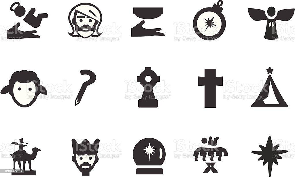 Christian Nativity Icons vector art illustration
