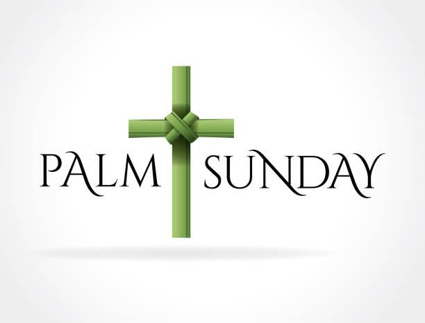 christian palm sunday cross theme illustration - palm sunday stock illustrations, clip art, cartoons, & icons