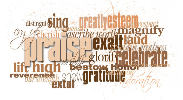 Christian praise word montage Graphic typographic montage of the word praise with associated Christian and Biblical words and phrases god stock illustrations
