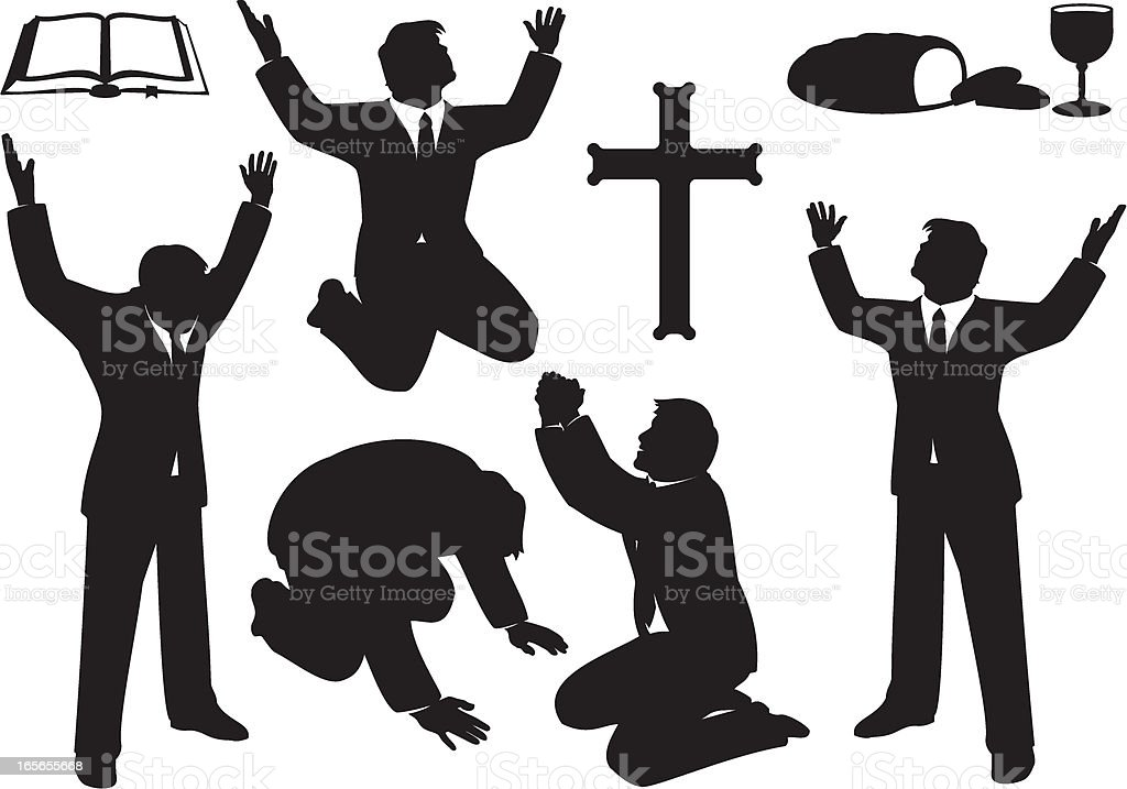 Christian Prayer and Praise Silhouette Set vector art illustration