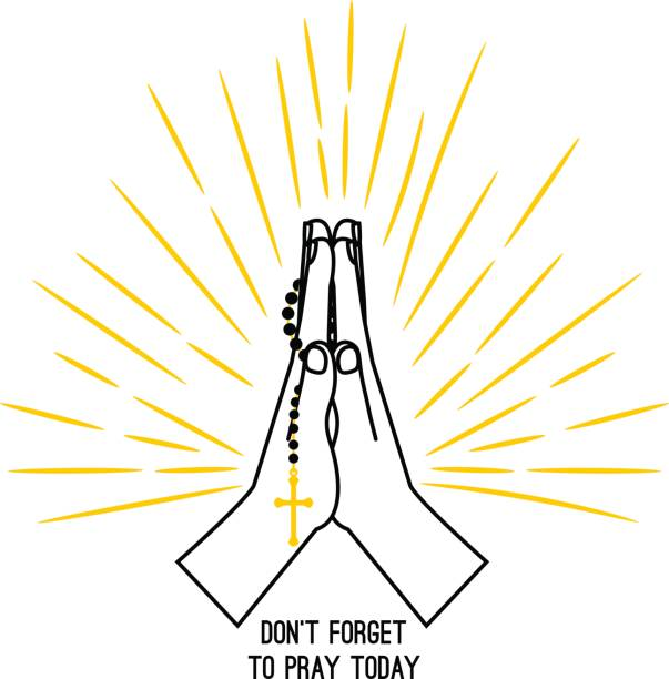基督徒祈禱的手撥弄著念珠 - prayer 幅插畫檔、美工圖案、卡通及圖標