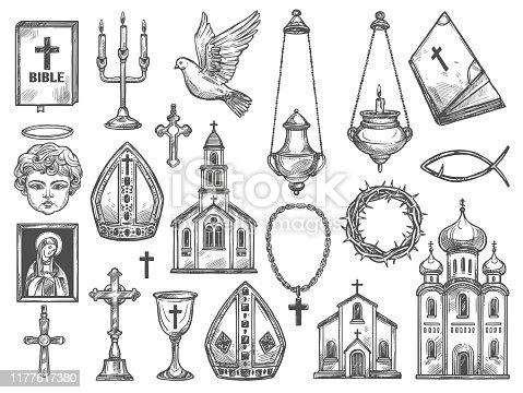 istock Christian religion church, bible, God icon, cross 1177617380