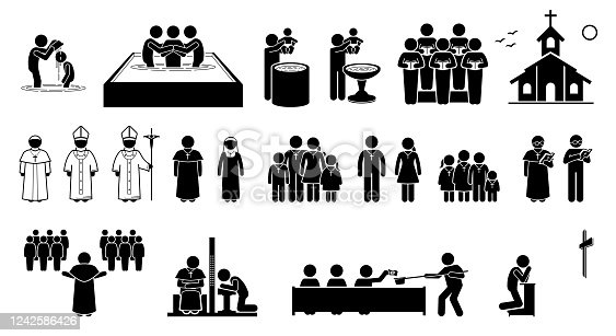 Vector artwork of pope, priest, pastor, nun, and Christians followers. Cliparts of baptism, holy mass, confession and prayer.