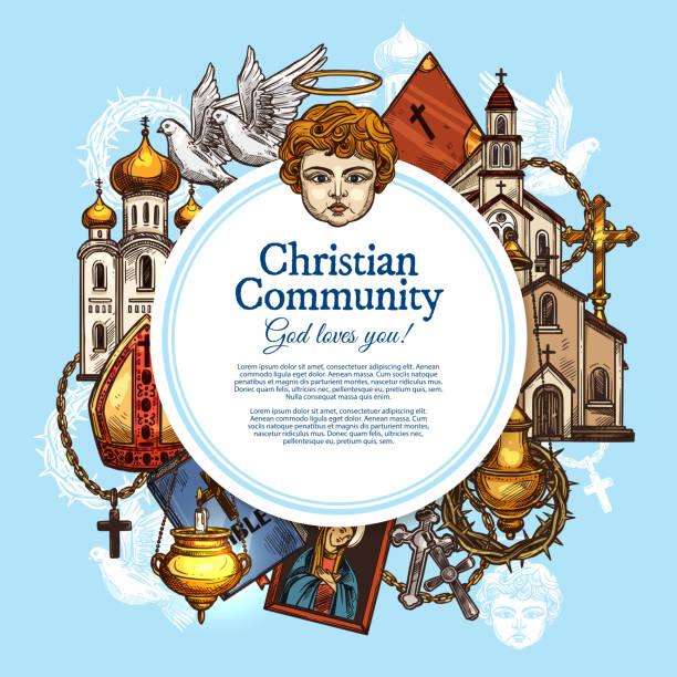 stockillustraties, clipart, cartoons en iconen met christelijke geloofsgemeenschap, vector symbolen - mijter