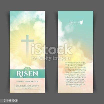 istock Christian religious design for Easter celebration. Narrow vertical banners 1211481508