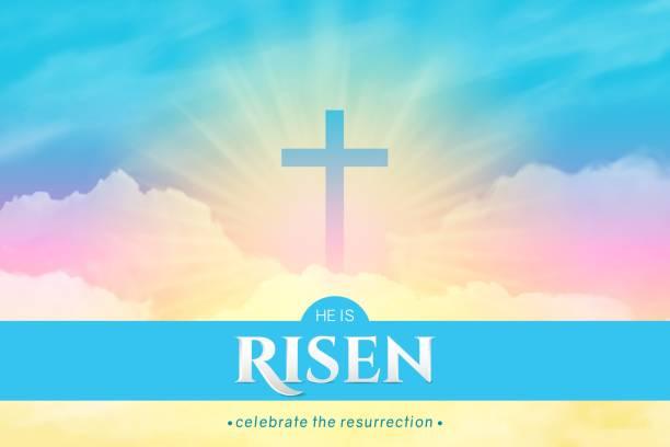 イースターのお祝いのためのキリスト教の宗教的なデザイン。長方形の水平バナー - 夜明け点のイラスト素材/クリップアート素材/マンガ素材/アイコン素材