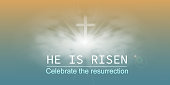 Christian religious design for Easter celebration, Saviour's cross with sunrise scene, with text He is risen. Vector