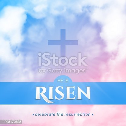 Christian religious design for Easter celebration. Square flyer. Text: He is risen, shining Cross and heaven with white clouds.