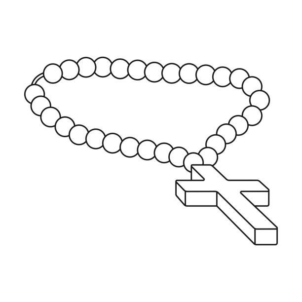christlichen rosenkranz symbol im umriss-stil isoliert auf weißem hintergrund. religion-symbol-lager vektor-illustration. - kreuzkette stock-grafiken, -clipart, -cartoons und -symbole
