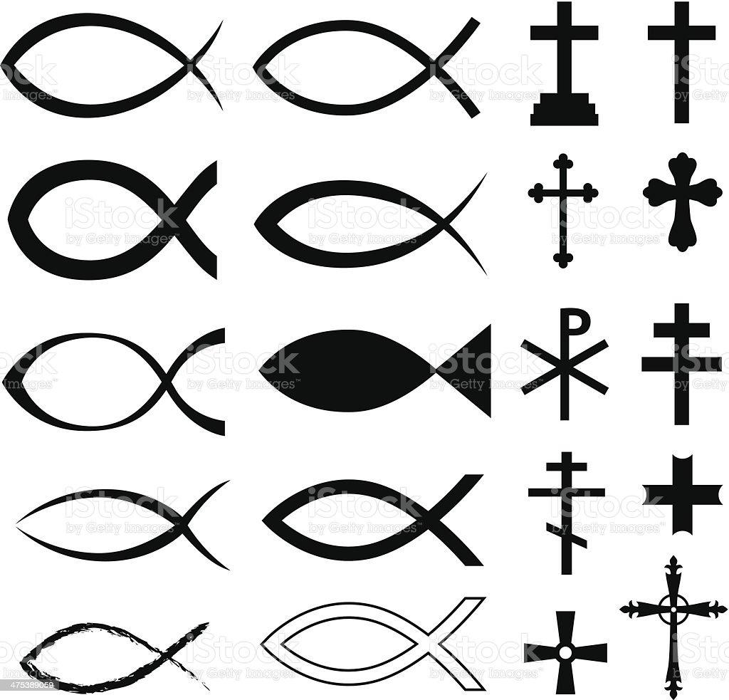 Christian symbols vector art illustration