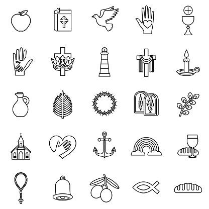 Christian Thin Line Icon Set