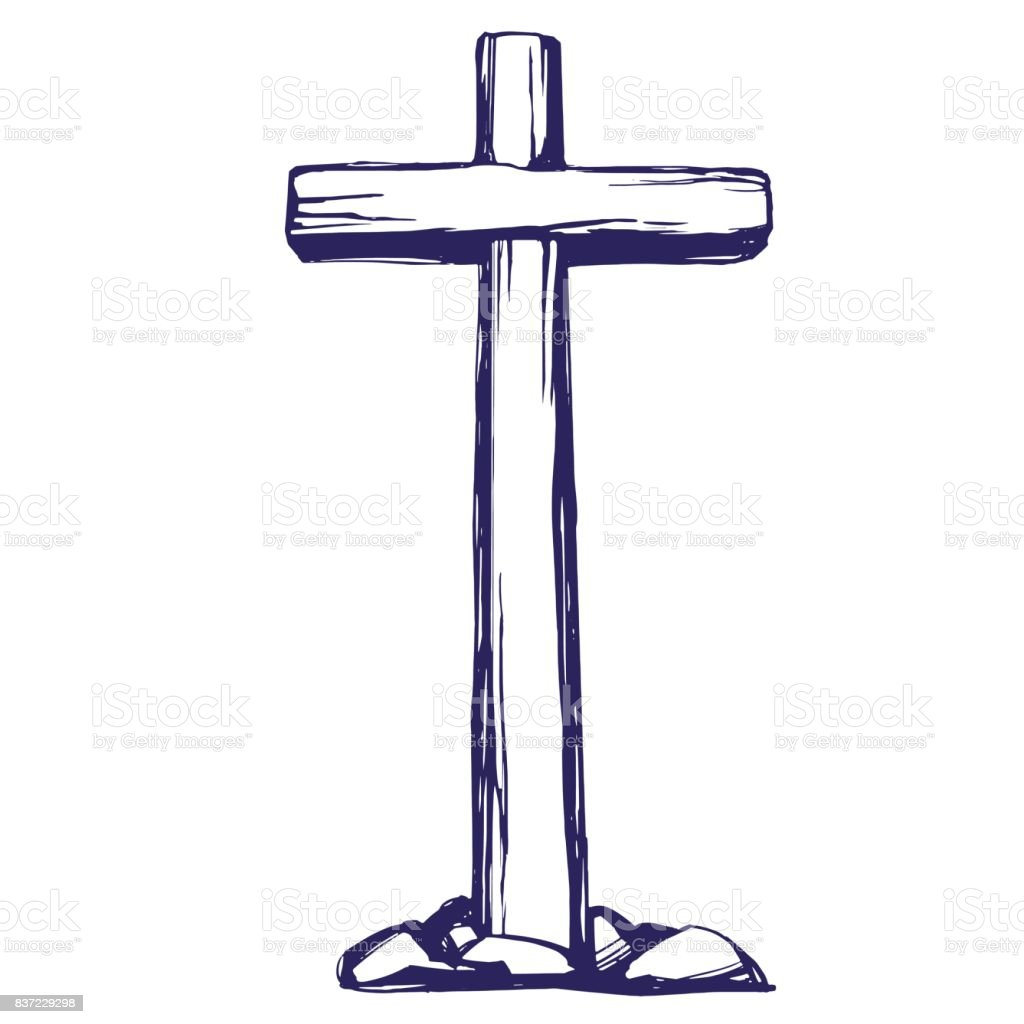 Christian Wooden Cross Easter Symbol Of Christianity Hand Drawn