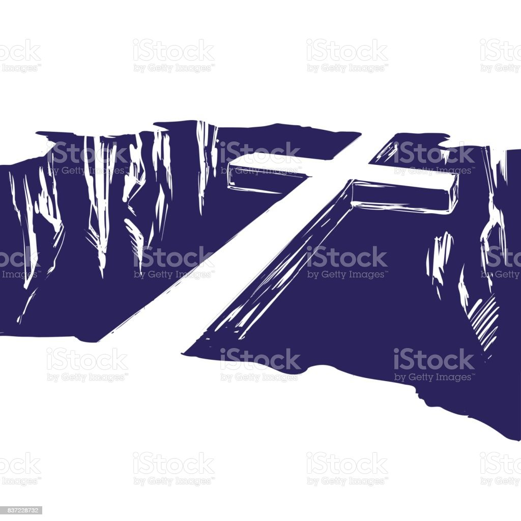 Christian wooden cross lying over the chasm, uniting us with God. Easter . symbol of Christianity hand drawn vector illustration vector art illustration