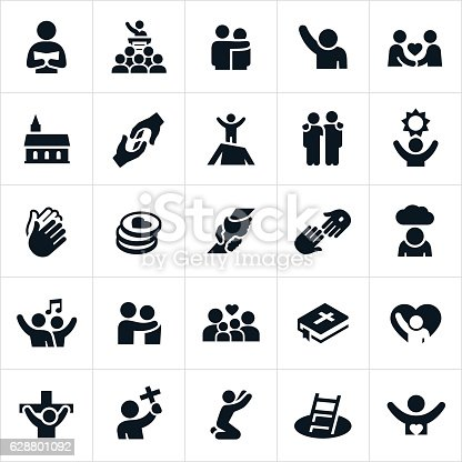 An icon set of Christian worship themes. The icons include people worshiping, praising God, pastors, preachers, sermons, church, families, prayer, religion, Christianity, Tithes, rescue, spirituality, Christ, Cross, faith, and other related themes.