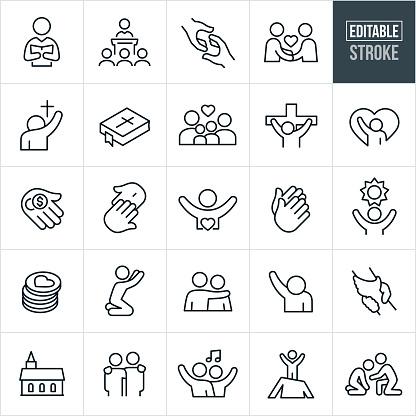 Christian Worship Thin Line Icons - Editable Stroke