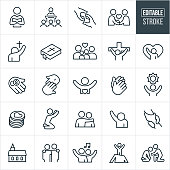 A set of Christian worship icons that include editable strokes or outlines using the EPS vector file. The icons include a pastor, preacher, pastor giving sermon to congregation, rescuing hand, fellowship, person worshiping, bible, family, Jesus Christ on the cross, tithing, donations, crucifixion, praying hands, hope, person praying, arm around shoulder, arm raised in worship, clasped hands, reaching out, church and gospel music to name a few.