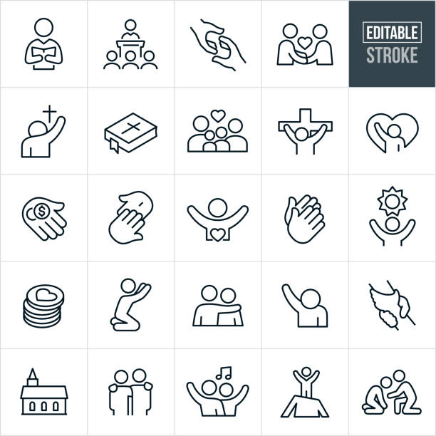 Christian Worship Thin Line Icons - Editable Stroke A set of Christian worship icons that include editable strokes or outlines using the EPS vector file. The icons include a pastor, preacher, pastor giving sermon to congregation, rescuing hand, fellowship, person worshiping, bible, family, Jesus Christ on the cross, tithing, donations, crucifixion, praying hands, hope, person praying, arm around shoulder, arm raised in worship, clasped hands, reaching out, church and gospel music to name a few. church stock illustrations