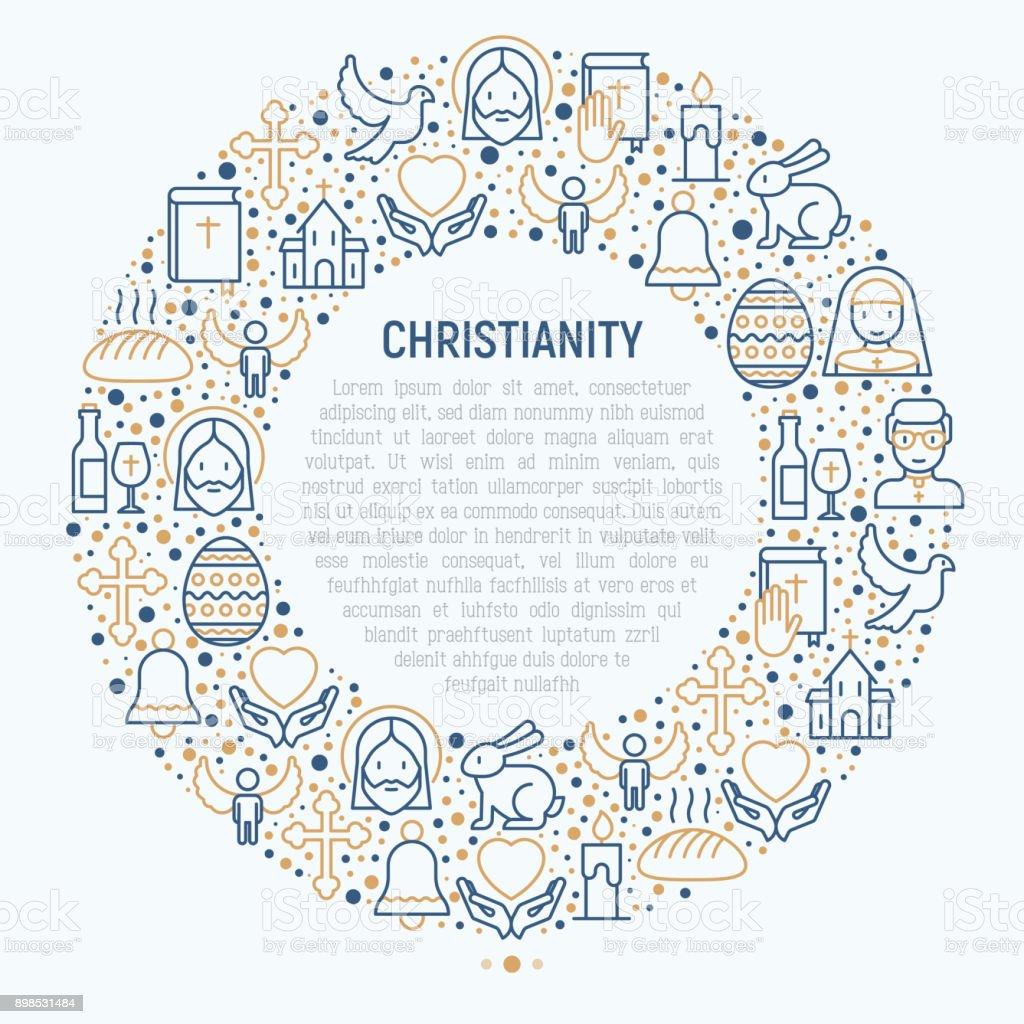 Christianity concept in circle with thin line icons of priest, church, nun, crucifixion, Jesus, bible, dove. Vector illustration for banner, web page, print media. vector art illustration